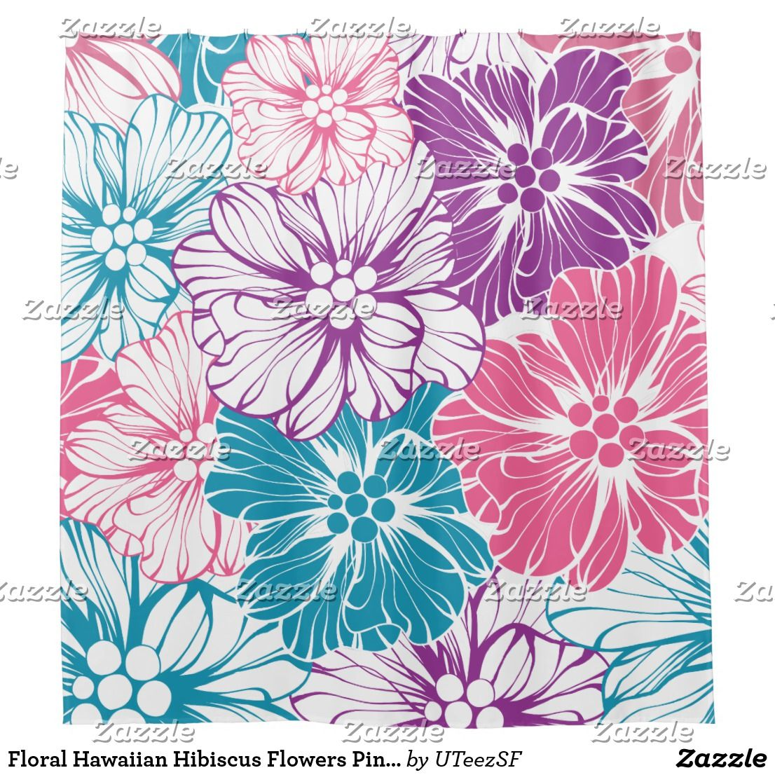 Floral Hawaiian Hibiscus Flowers Pink Teal Purple Shower Curtain