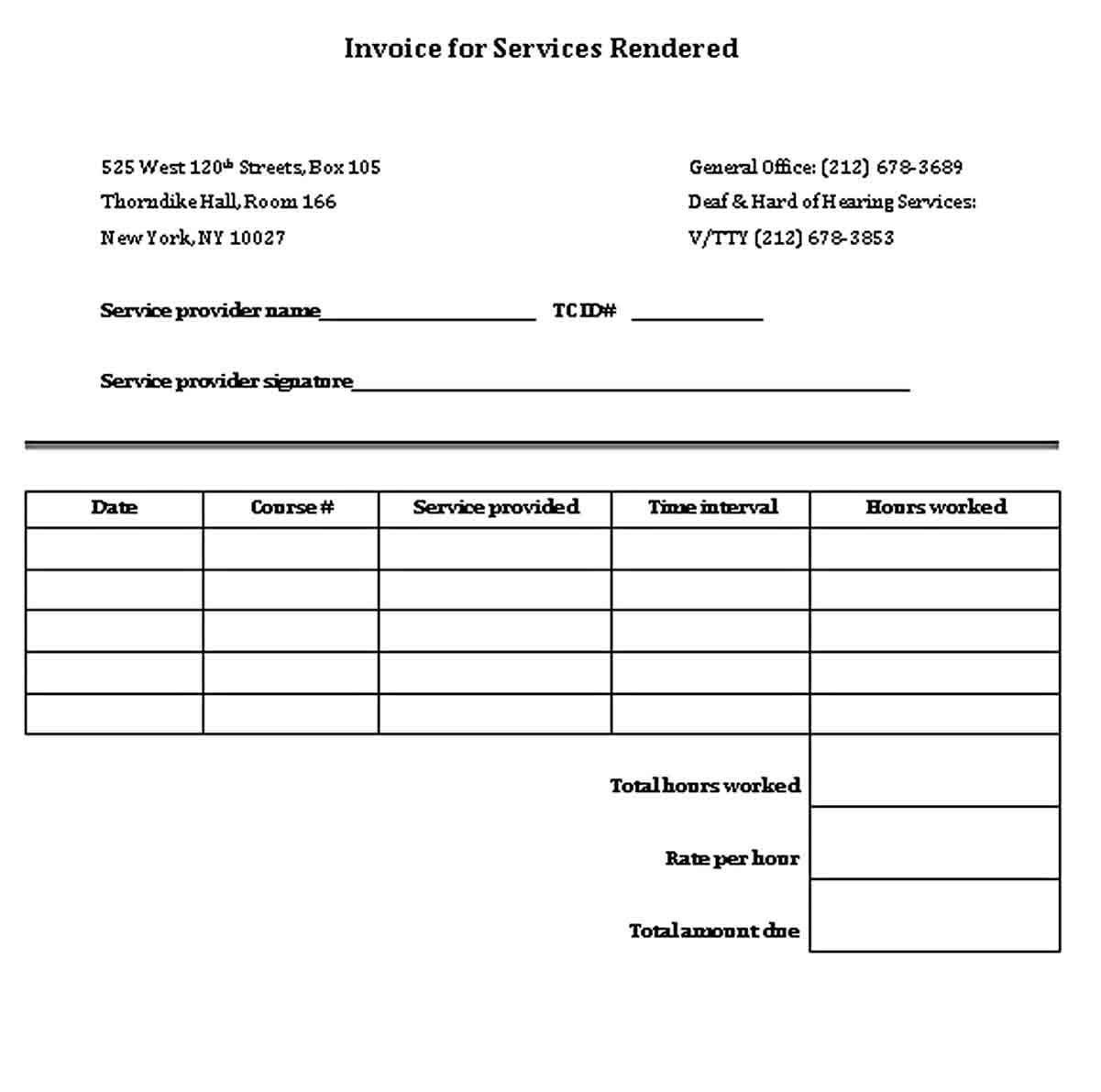 Sample Service Receipt Business Template Receipt Template Child Care Services Sample receipts for services rendered