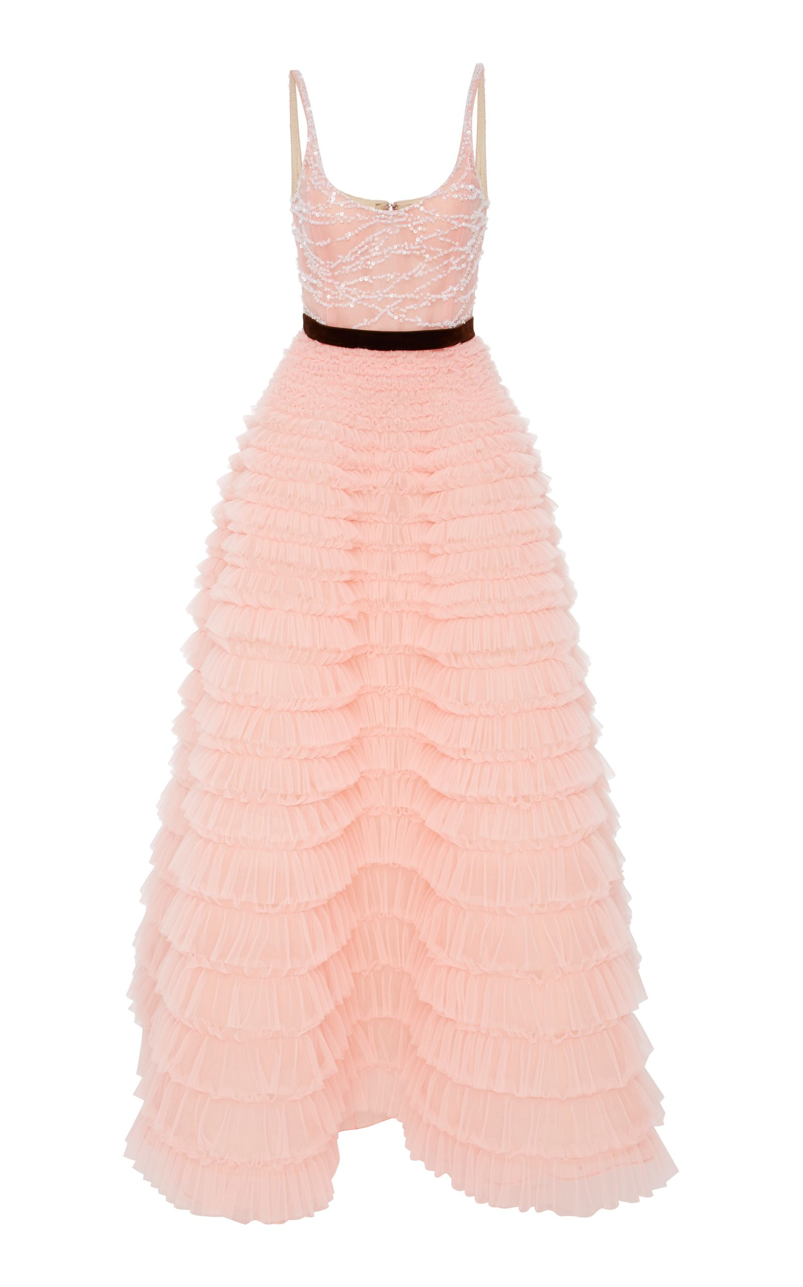 7dafa76765c Embroidered Bodice Sleeveless Gown With Tulle Skirt by J. MENDEL for  Preorder on Moda Operandi