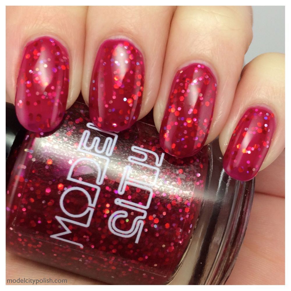 Strawberry red jelly base with holographic red, silver, and pink ...