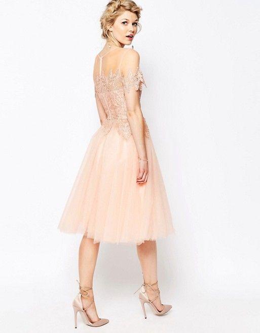 Chi Chi Petite | Chi Chi London Petite Tulle Lace Midi Dress in Pink ...