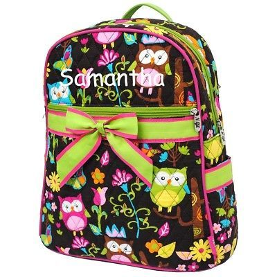 Backpack Personalized Monogrammed Diaper Bag Dance Gym Owl Print With Lime