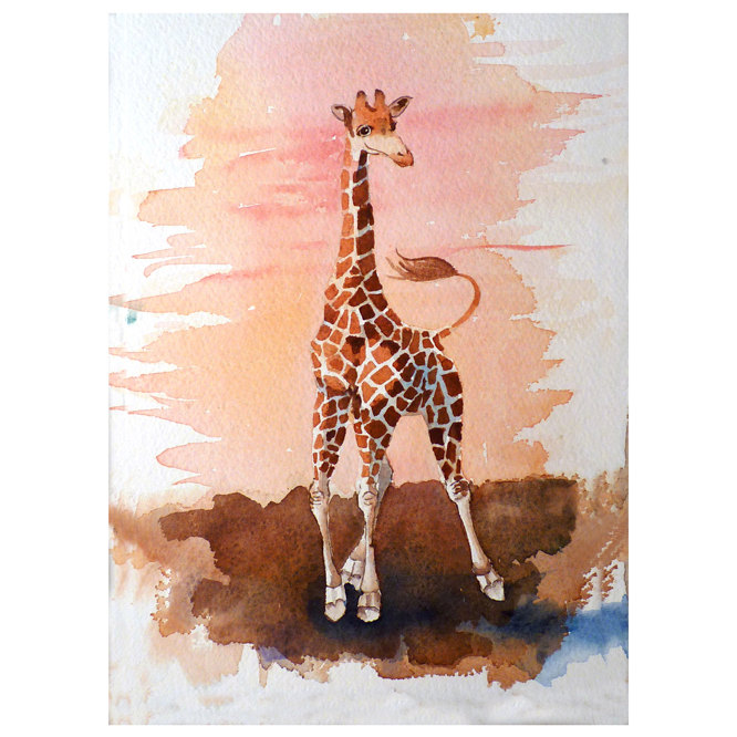 Giraffe Art Original Watercolor Painting A Wild African Animal In