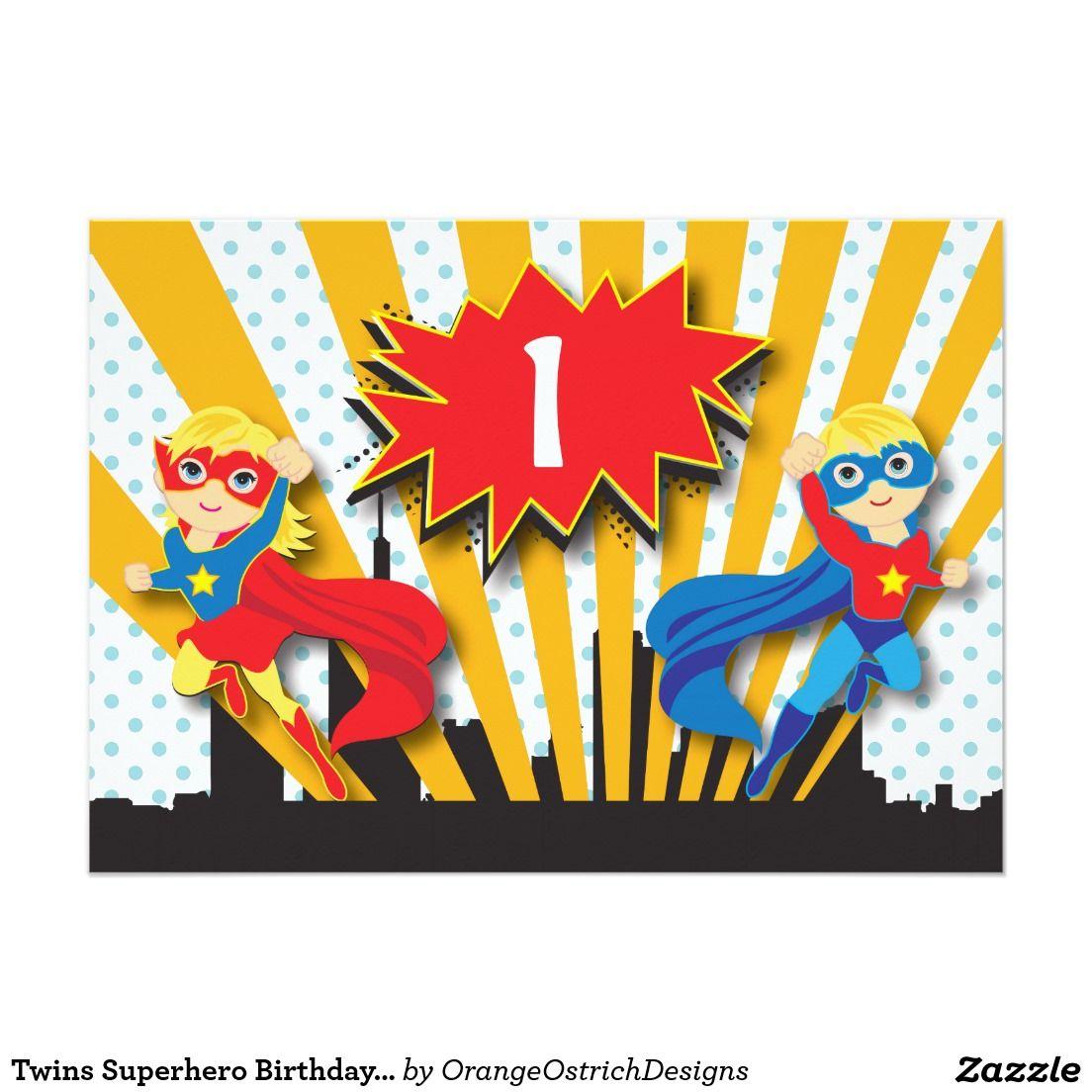 Twins Superhero Birthday   Blonde Invitation   Superhero, Twins and ...