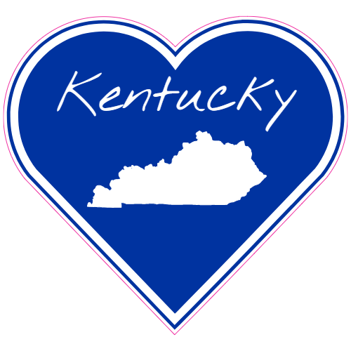Get this kentucky blue white heart sticker online at the u s custom stickers decal store