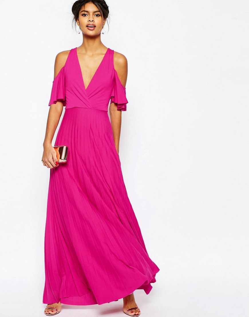 Image 1 of ASOS Cold Shoulder Pleated Maxi Dress | 34 | Pinterest | Boda