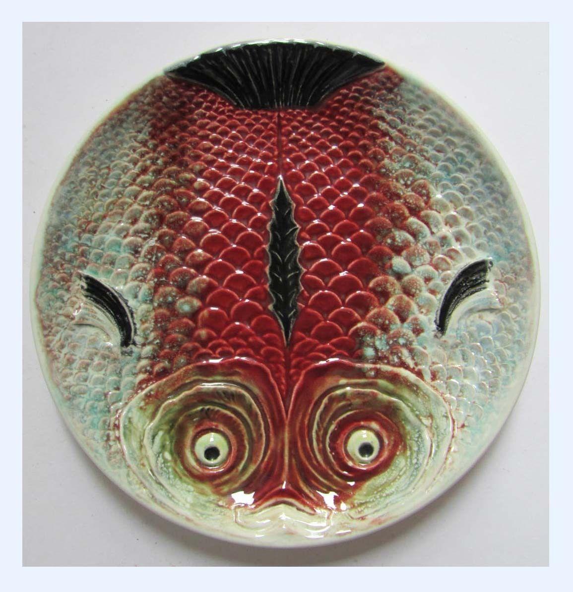 Bordalo Pinheiro Caldas da Rainha Fish Plate Majolica Portugal Ceramic Vintage   eBay & LOT OF 4 Bordallo Pinheiro Portugal Salmon Fish Plates 9