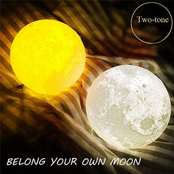 15cm 3d Magical Two Tone Moon Lamp Usb Charging Luna Led