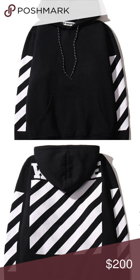 Off White Black Pullover Hoodie Black Pullover Hoodie Off White Hoodie Clothes Design