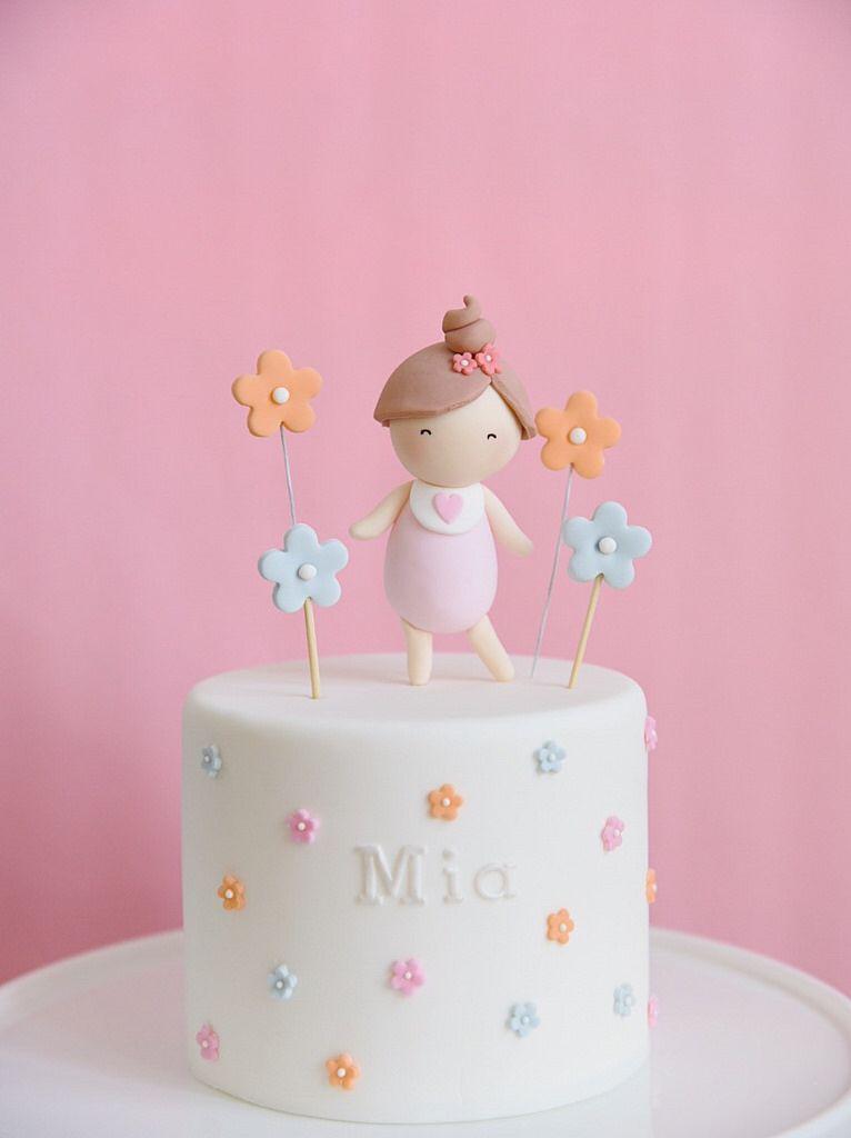 First Birthday Cake Baby Girl Figurine Flower Design Made By