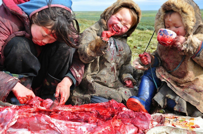 Refeição de uma família siberiana.