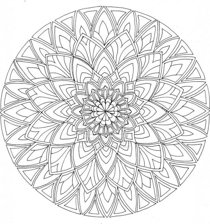 Decorative Rocks Ideas : Difficult Level Mandala Coloring ...