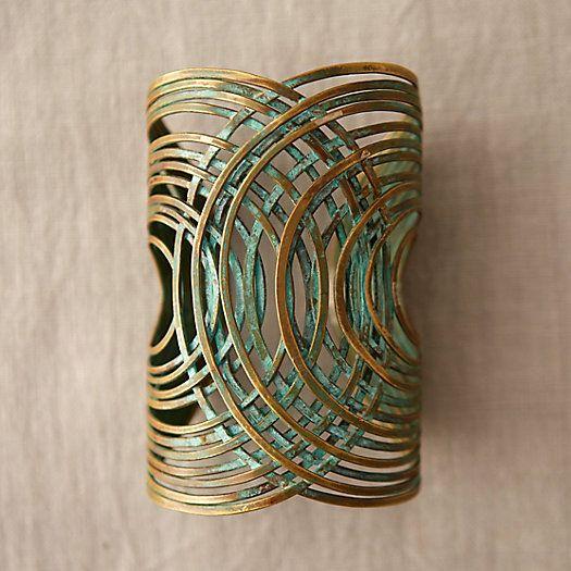 Verdigris Coil Cuff Bracelet