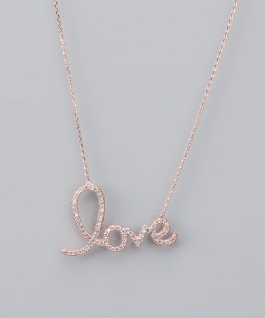 Rose Gold Crystal Love Necklace by Romantic Rose Jadore