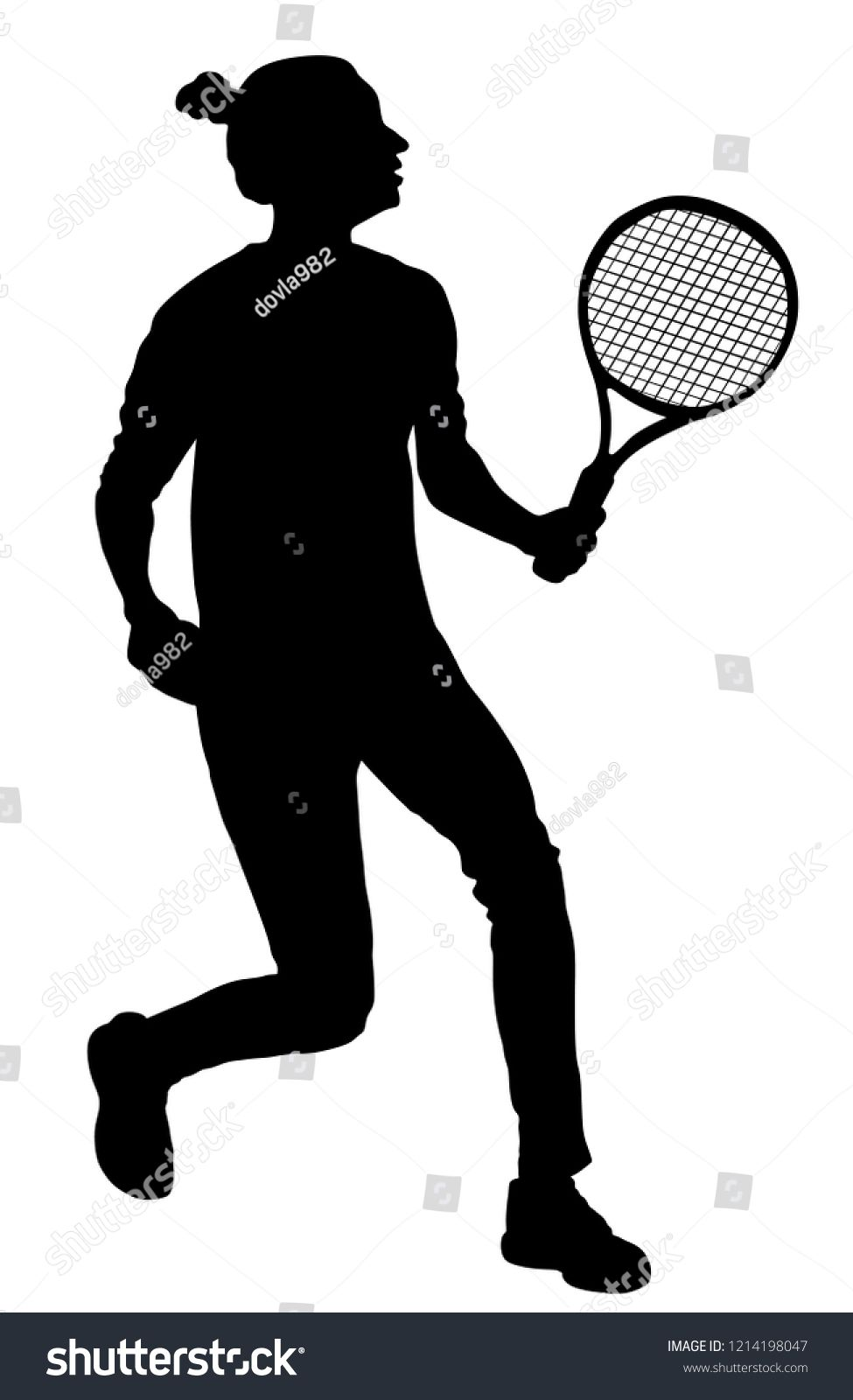 Woman Tennis Player Vector Silhouette Isolated On White Background Sport Tennis Shadow Isolated Recreation Pose Girl Play Tennis Tennis Players Sport Tennis