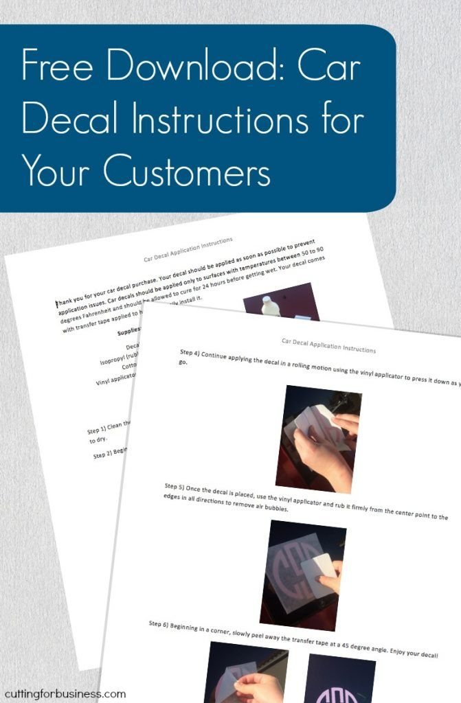 Silhouette cameo and cricut small business owners free printable car decal application instructions to give your customers by cuttingforbusiness com