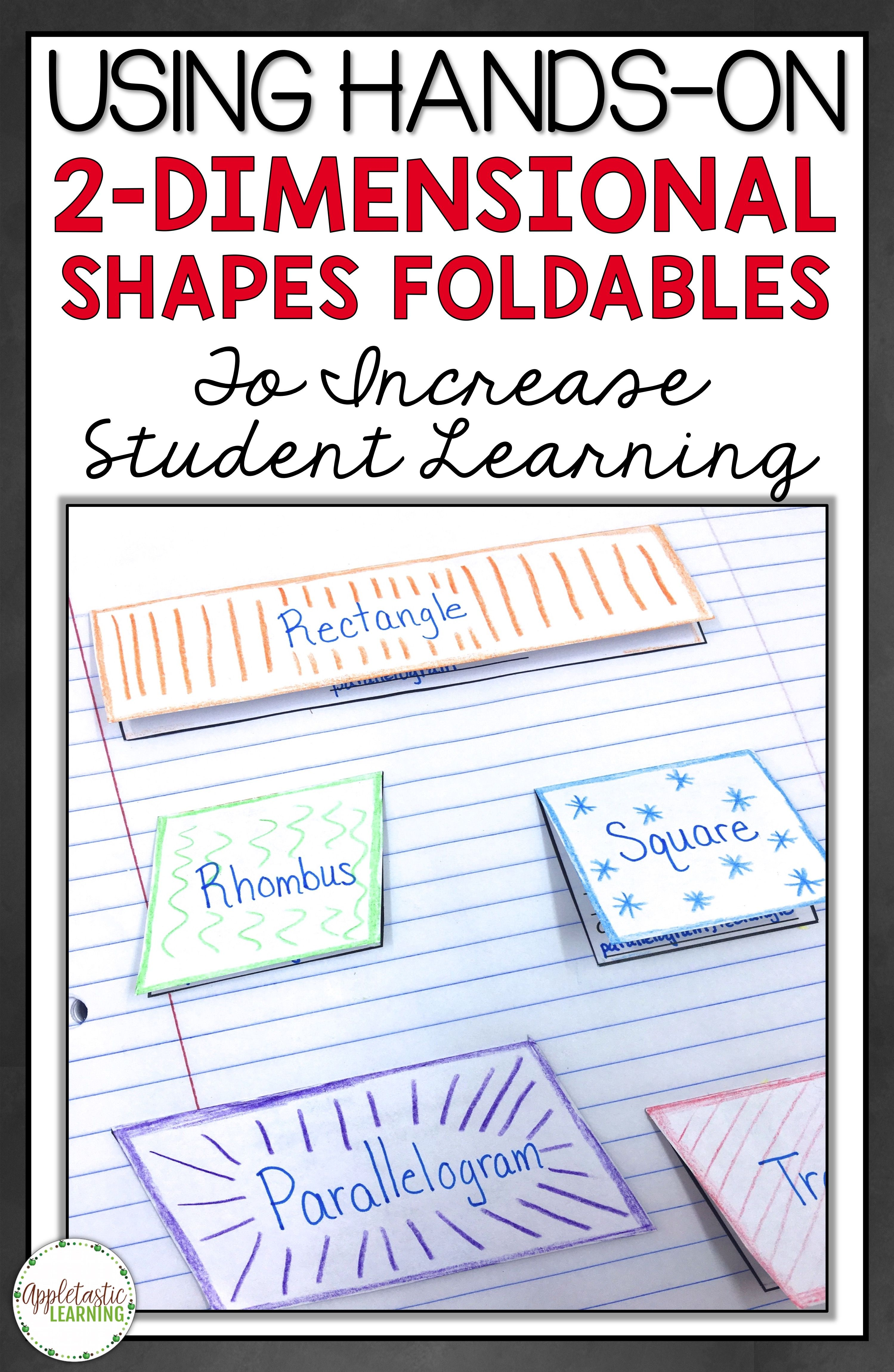 2-D Shapes Foldables and 2 Dimensional Shapes Foldables are fun for elementary students in 3rd grade, 4th grade, 5th grade, and 6th grade! Instead of a 2-dimensional shape worksheet, try these interactive notebook math foldable templates for kids. Great math activities and geometry ideas for 2-D Shape learning. Includes mini anchor charts for math journals!