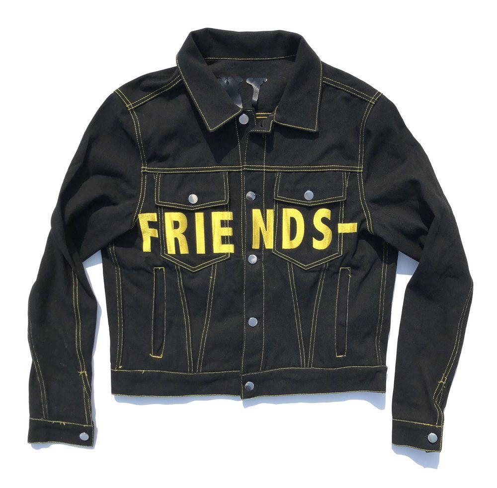 Vlone Friends Yellow On Black Denim Jacket Ebay Link Denim Jacket Black Denim Jacket Jackets [ 983 x 1000 Pixel ]