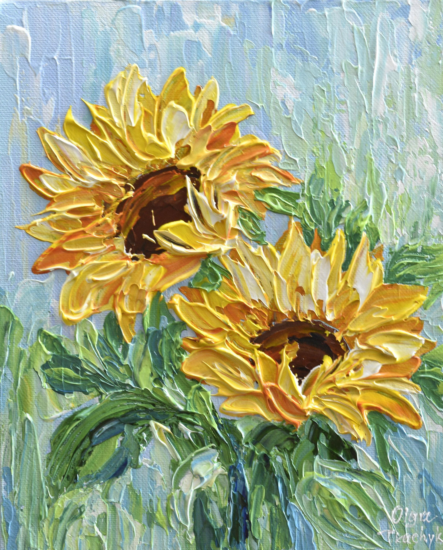 "Sunflower Impasto Painting 10"" Palette Knife Art, Yellow"