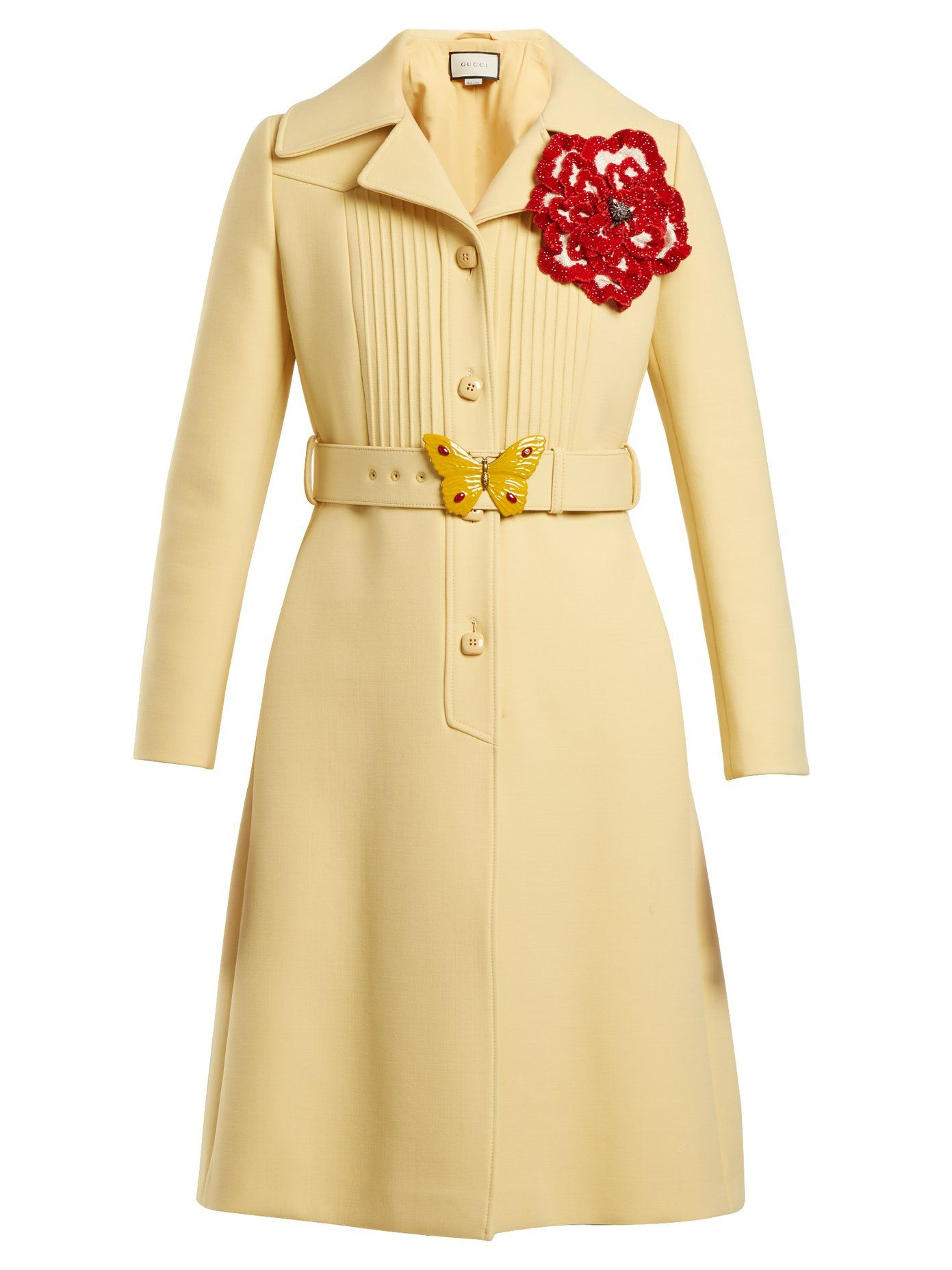 2db49b39a Pintucked butterfly-embellished belt coat | Gucci | MATCHESFASHION.COM UK