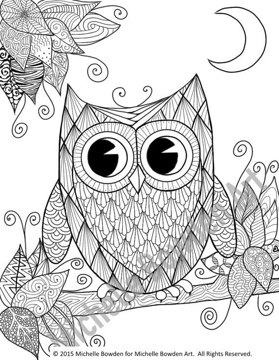 coloring page printable owl night zendoodle by michellebowdenart oo i g i o e it color. Black Bedroom Furniture Sets. Home Design Ideas