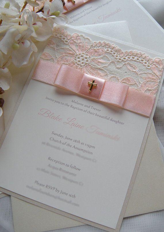 CHRISTINA Pink Lace Baptism Invitation, Christening Invitation with - best of sample invitation of baptism