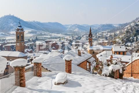 Small town covered with snow. Stock Photos ,#covered#town#Small#Photos