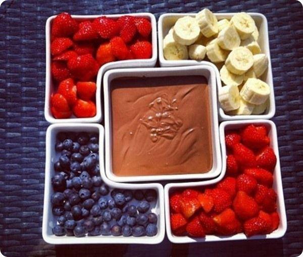 fondue com frutas