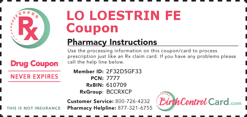 This Is A Free Coupon For Lo Loestrin Fe Use This Coupon To Receive Discounts On Your Birth Control At Point Of Sal Birth Control Coupons Prescription Savings