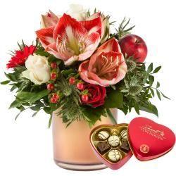 Blumensträuße mit Geschenk #amaryllisdeko Blumenstrauß Amarylliszauber mit Lindt HerzBlume2000.de #amaryllisdeko
