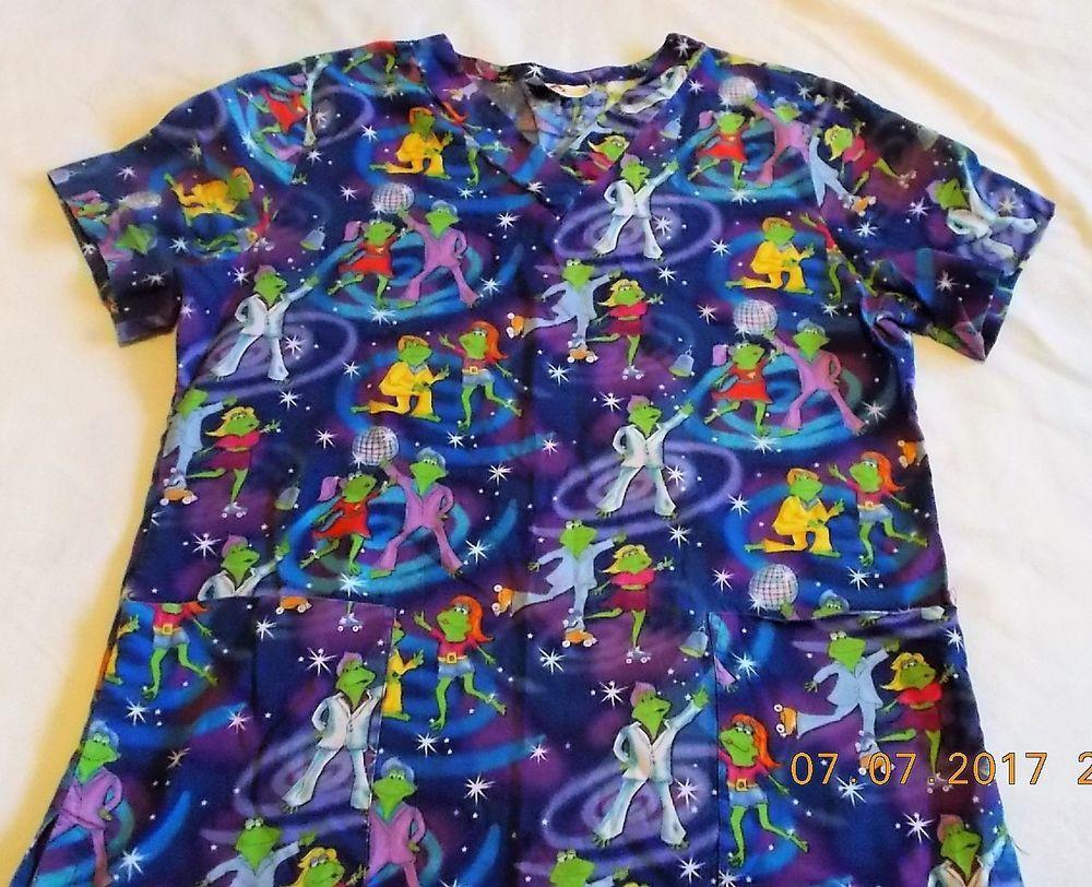 3a512cd6ba8 Scrub Top Disco Dancing Frogs W XS - Small, White Cross, Vet Kids ward  Scrubs #WhiteCross
