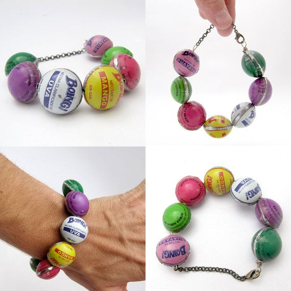 Bottlecap Bead Bracelet Candy Colors recycled by JustineJustine, $58.00 Such fun, and a happy, colorful reminder of the beauty which is Mexico.