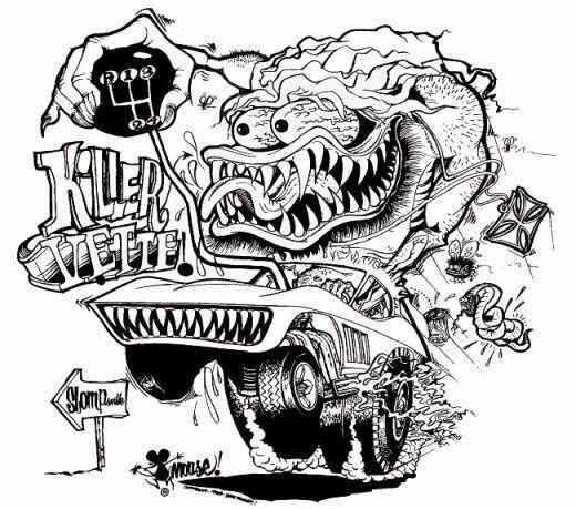 Killer Vette T- Shirt Design by Stanley Mouse #StanleyMouse #KustomKulture #lowbrow #lowbrowart