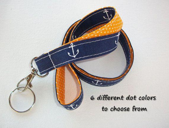 Key Chain Lanyard Id Holder Key Leash badge holder navy blue anchors red dots