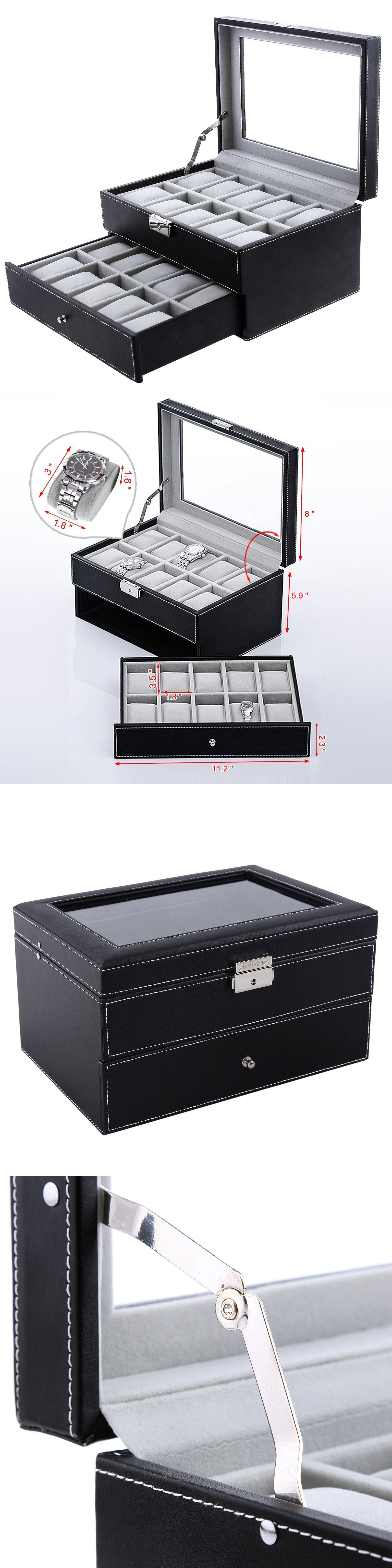 watch 168164 songmics 20 mens watch box case glass top black watch 168164 songmics 20 mens watch box case glass top black display organizer lockable ujwb0