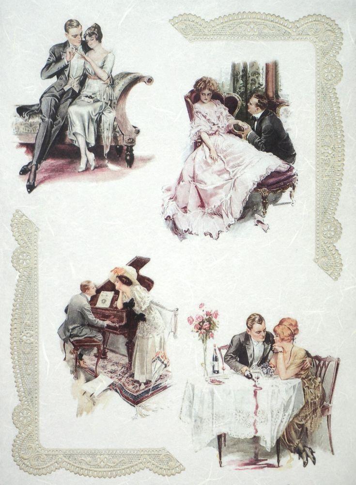 Rice Paper for Decoupage Decopatch Scrapbook Craft Sheet Vintage Romantic Date