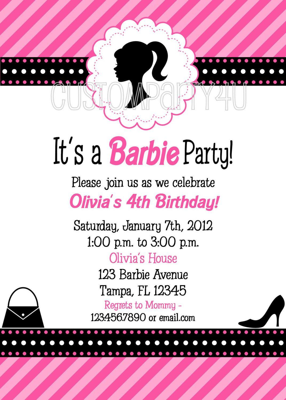 Vintage Silhouette Barbie Doll Birthday Invitation Vintage