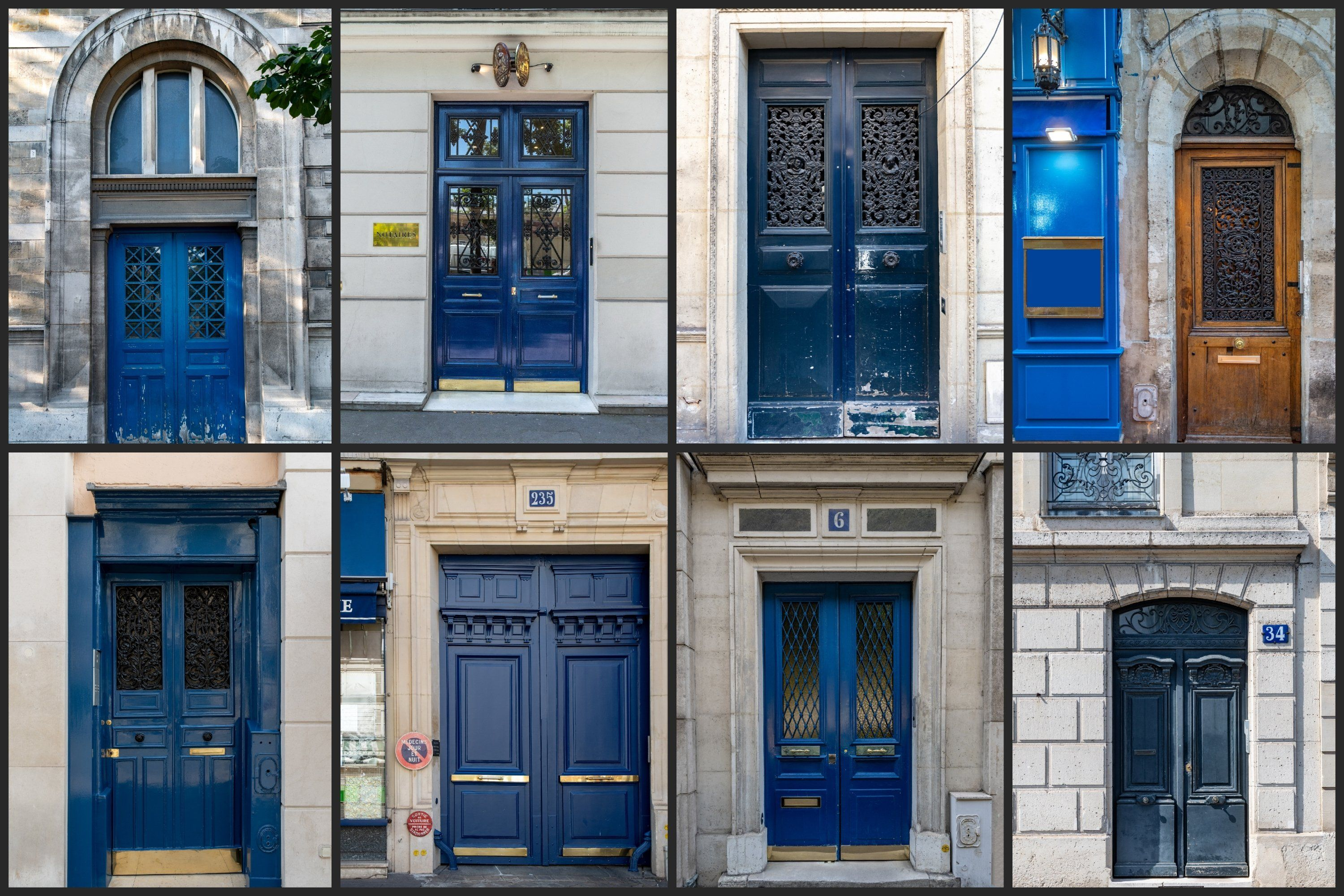 Paris Door Wall Art Set Of 26 Photos Vintage Blue Doors 594860 Travel And Adventure Design Bundles In 2020 Paris Door Wall Art Sets Adventure Design