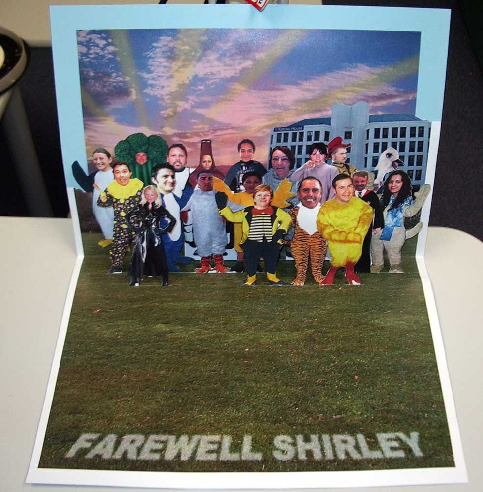 A Pop Up Farewell Card For Shirley A Very Popular Work Colleague 2005 Farewell Cards Cards Pop Up Cards