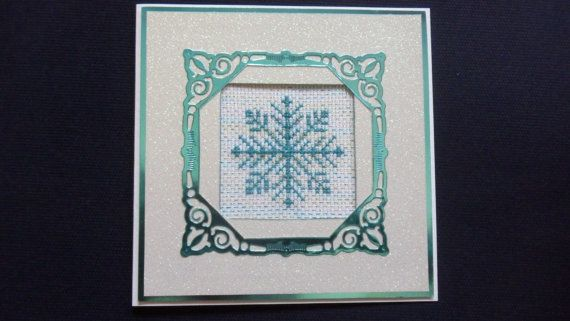 OOAK Christmas Snowflake Cross Stitched Picture Frame by SueAt22