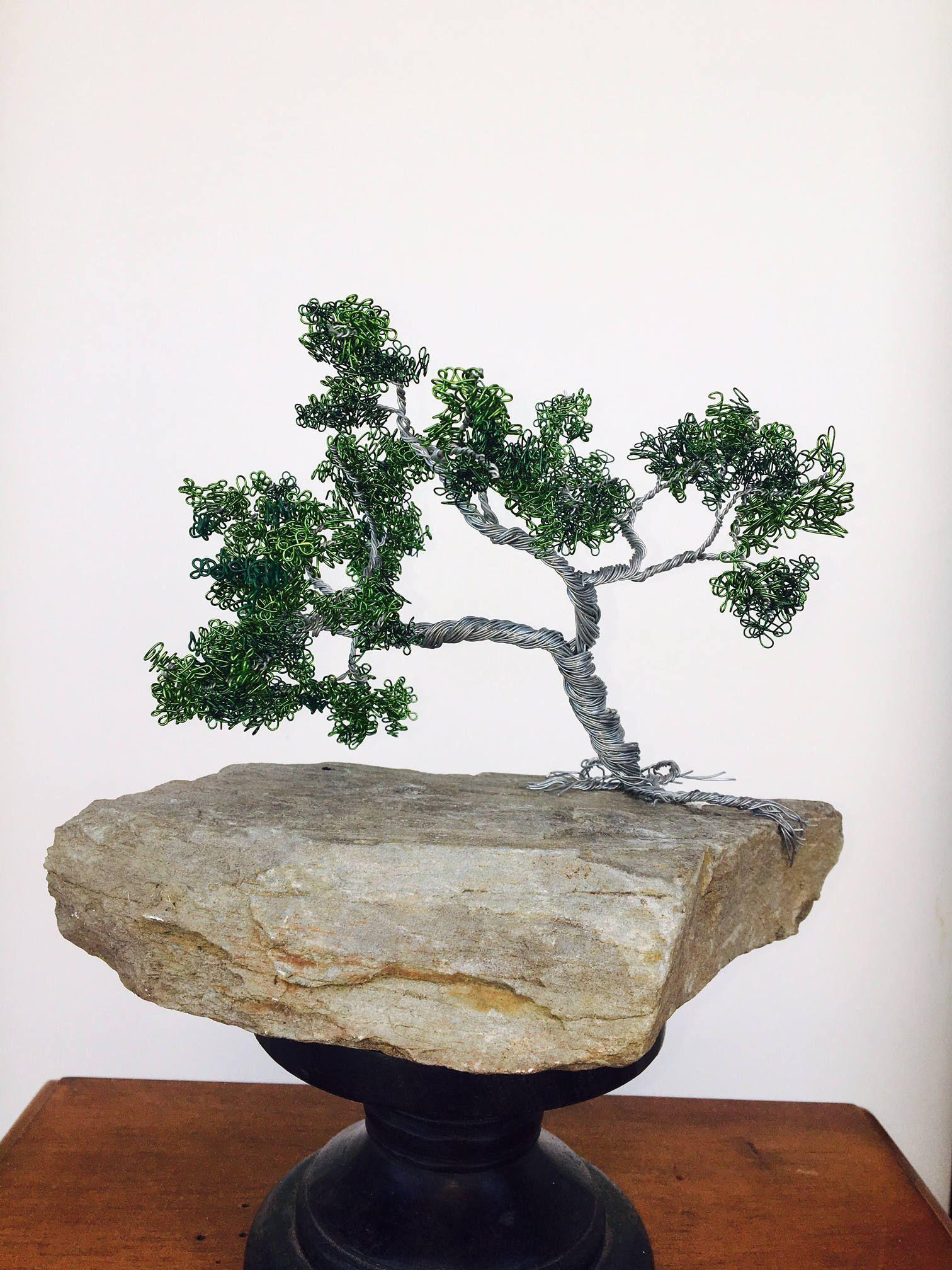 Oak Wire Bonsai Tree On Maine Stone By Studiosinnett Etsy What Does Wiring A Do