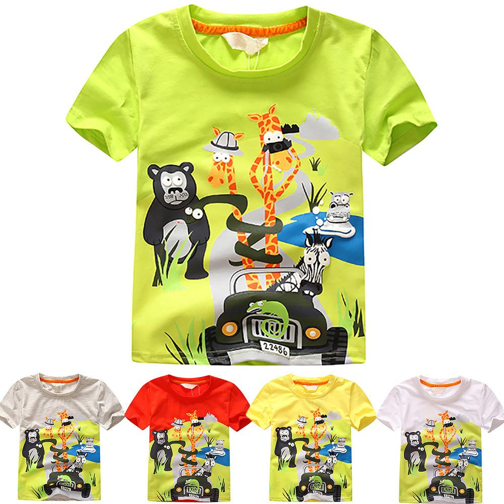 08ccfa9fa children summer clothing baby boy T shirt cotton animal print short ...