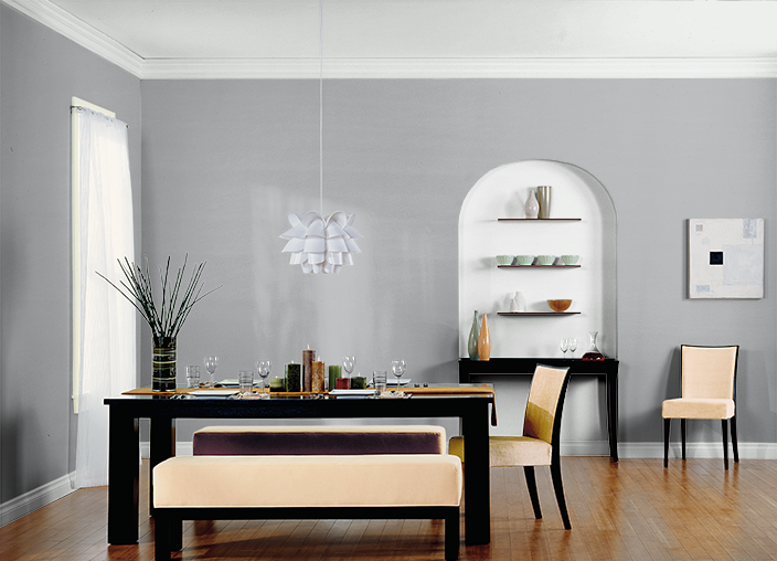 Behr Silverstone in dining room