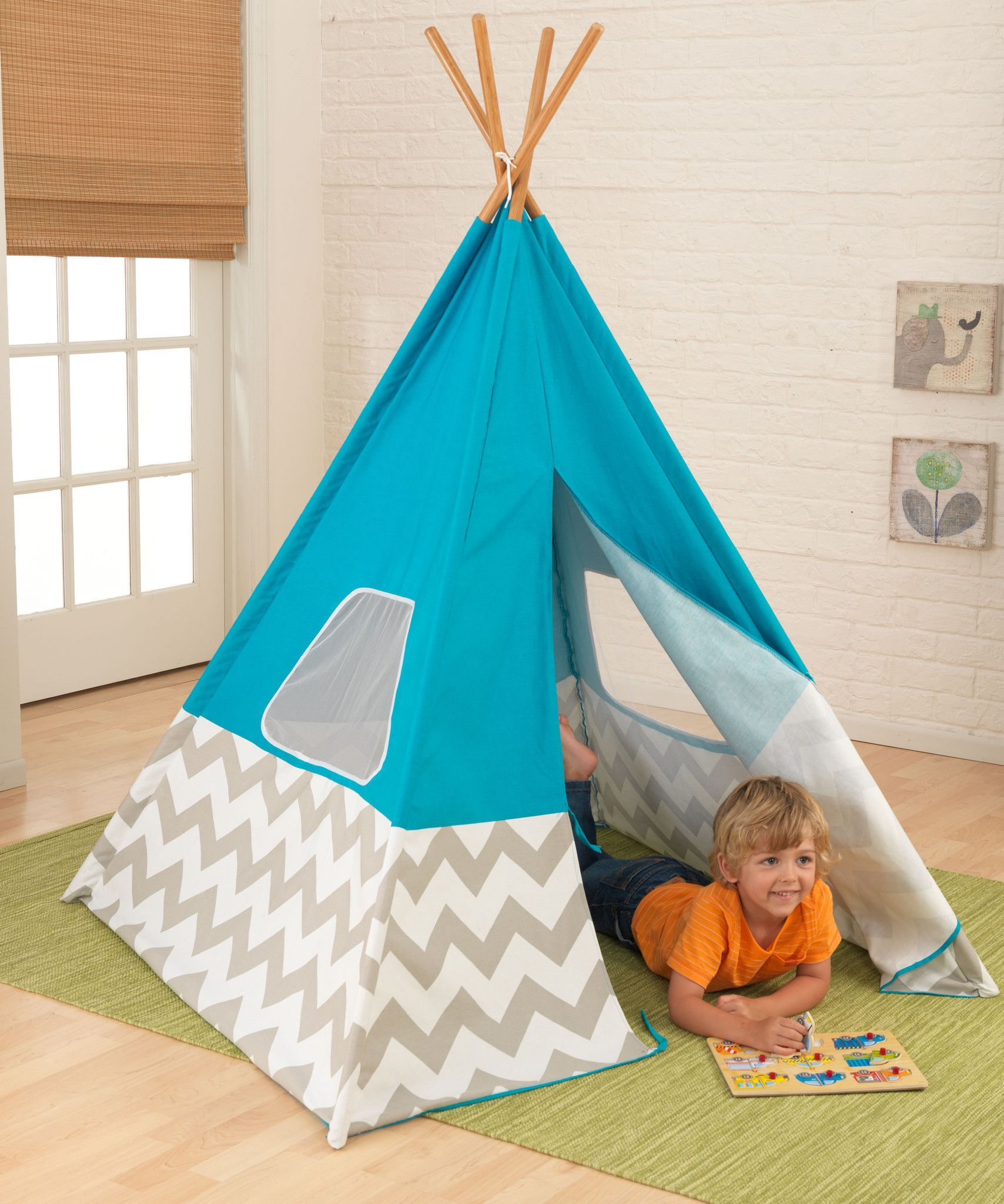 Have indoor or outdoor fun with the Discovery Kids Adventure Play TeePee Tent that easily sets up in minutes! Tent stands over feet tall! & Turquoise Teepee with Gray u0026 White Chevron | Products | Pinterest ...