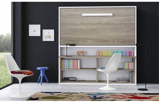Lit Integre Dans Meuble Lit Mural Pour 1 Personne Avec Bureau Et Etageres Integres Lit Escamotable Meuble Lit Lit Placard