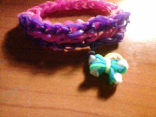 braccialetto viola e fuxia con farfallina
