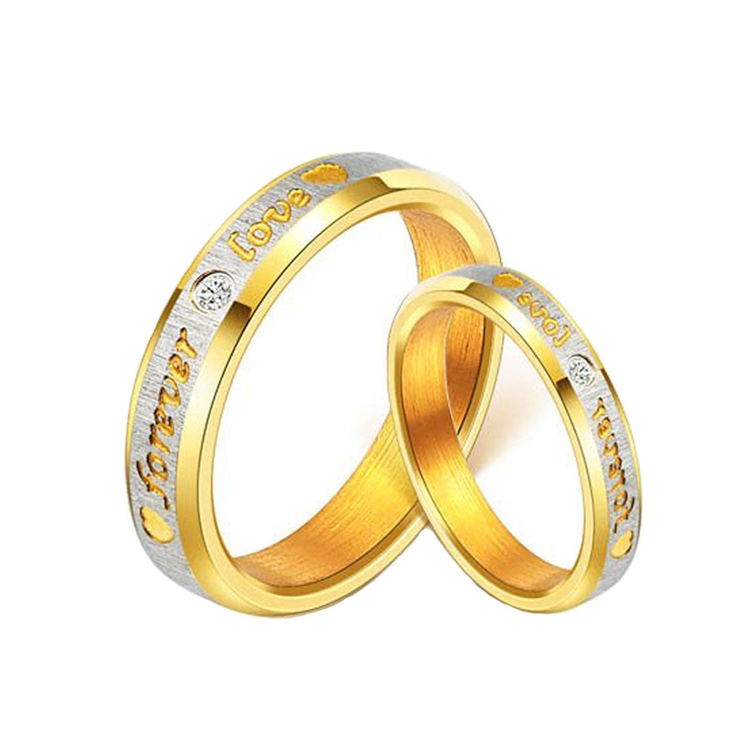 a40232029d Yellow Chimes Love Forever 18K Gold Plated Proposal Couple Rings for Girls  and Boys. Perfect