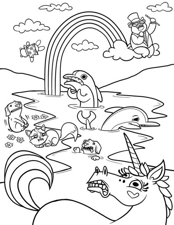 A Wierd Frightened Animals And A Rainbow Coloring Page A Wierd Frightened Animals And A Rainbow Abstract Coloring Pages Detailed Coloring Pages Coloring Pages