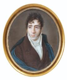 Ferdinand Machéra DOLE 1776 - 1843 LYON PORTRAIT D'HOMME PORTANT UNE CAPE NOIRE SUR UN COSTUME MARRON, VERS 1820