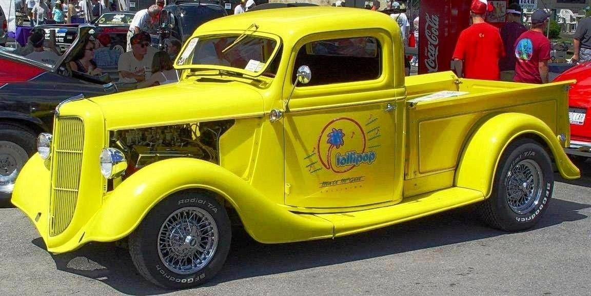 ANTIQUE CAR FORD 1936 MODEL PICKUP YELLOW LOLLIPOP | Antique Car and ...